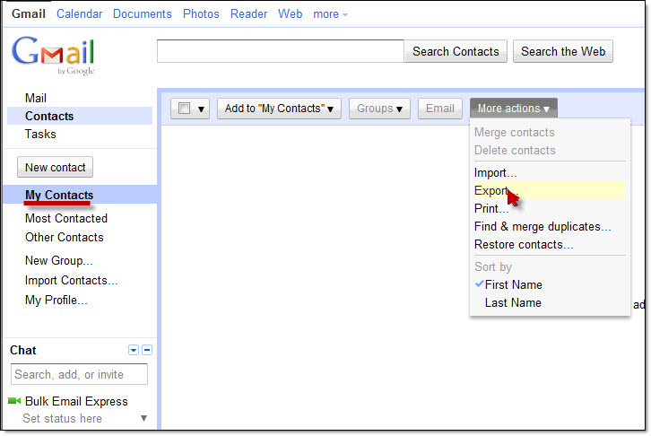 Export Gmail Contacts
